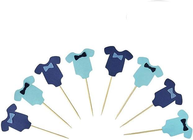 Amazon.com: Azul bebé overol Baby Shower pastel Cupcake ...
