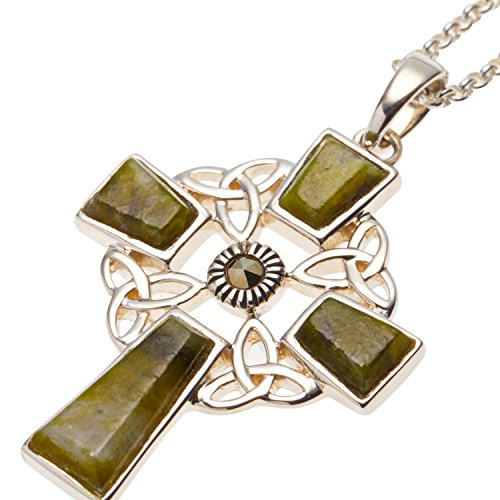(Celtic Cross Pendant Silver With Connemara Marble on 18