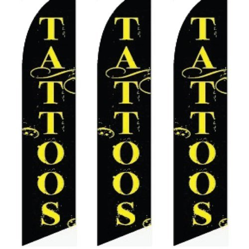 3 (three) Pack Tall Swooper Flags Black with Yellow Text Graphics TATTOOS