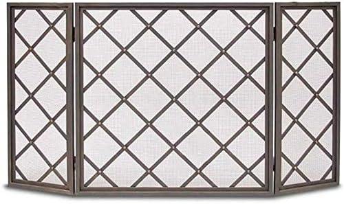 LJFPB 暖炉スクリーン 3パネルヒンジ ファイアガードシールドメッシュ スパークフレームエンバー保護用、 ブラック 60x31.5in (Color : Black)