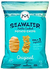 Mediterranea Seawater Potato Chips, Kettle Cooked in Hi-Oleic Sunflower Oil (Case of 10, 8oz Bags, Sharing Size)