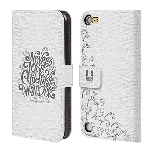 Head Case Designs Childlike Wonder Tipografia Fatta A Mano Cover a portafoglio in pelle per iPod Touch 5th Gen / 6th Gen
