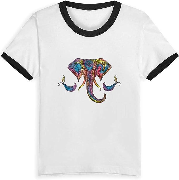 Queen Elena Colorido Elefante, 2 – 6Y Cartoon Print Boys T Shirt Summer Infant niños niñas Fashion Camisetas Ropa algodón bebé Contrast Color Negro Negro (3 años: Amazon.es: Ropa y accesorios