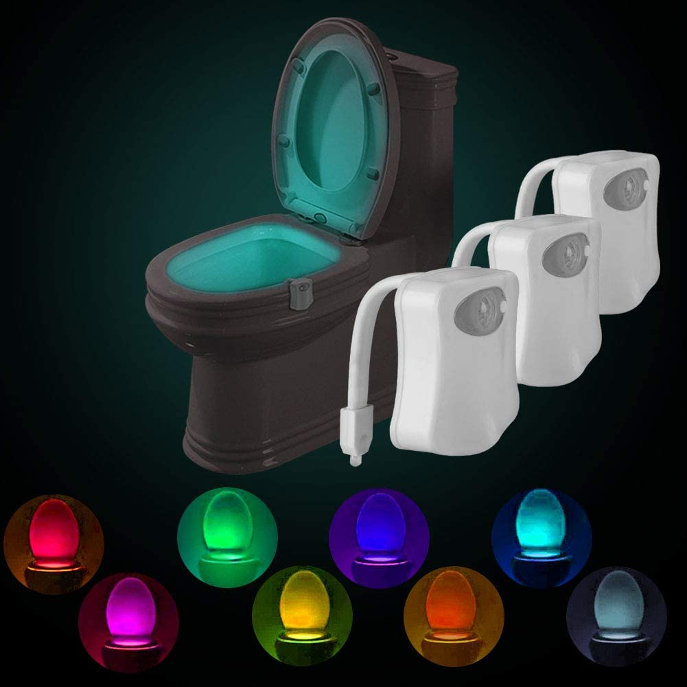Powerole Toilet Night Light Pir Motion Activated Toilet Light Sensor Led Washroom Potty Night Light Inside Toliet Lamp 8 Colors Changing Battery Operated Motion Sensor For Bathroom Washroom Home Improvement