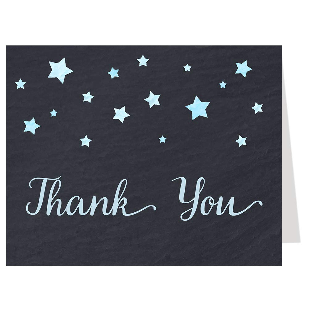 Twinkle Little Star Thank You Cards Chalkboard Over The Moon Baby Shower Wish Upon A Star Wedding Sprinkle Birthday Party Bridal Evening Black Board Blue Boys It's A Boy Stars Thanks (50 Count)