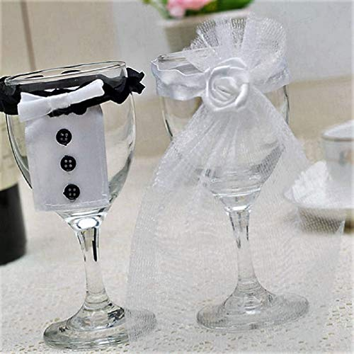 Wedding Bridal Wine Glass Cup Cover - set of 2 Bridal Veil/Groom Tux/Bow knots (Bridal Veil & Groom (Cup Knot Covers)
