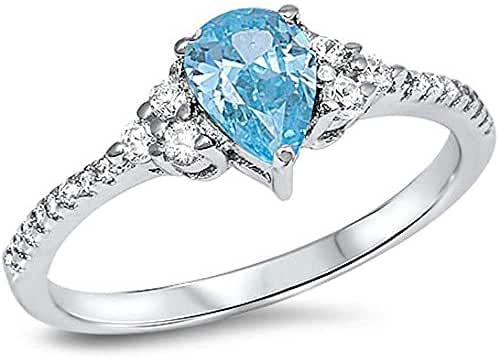 Pear Shape Simulated Aquamarine & Cz .925 Sterling Silver Ring Sizes 5-9