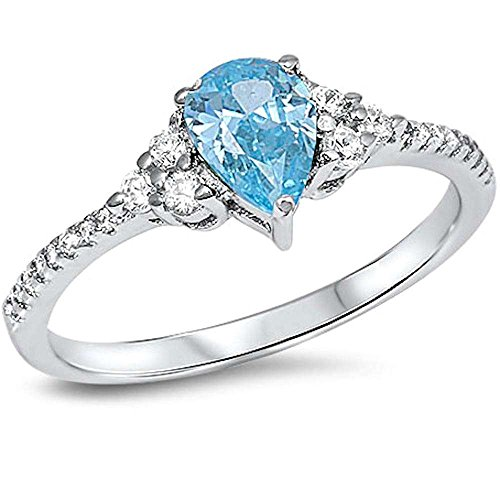 - Pear Shape Simulated Aquamarine & Cz .925 Sterling Silver Ring Size 9