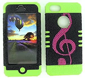 Cell-Attire Shockproof Hybrid Case For Apple IPhone 5, 5S and Stylus Pen, Green Soft Rubber Skin with Hard Cover (Music Note, Pink, Black) AT&T, T-Mobile, Sprint, Verizon, Cricket, Virgin Mobile, Boost Mobile by Maris's Diary