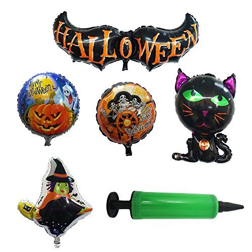 ELOVTOP 5PCS Foil Balloons With Pump Aluminum Film Halloween Party Supplies Decorative Props Pumpkin Witch Pirates Bat Black Cat Balloons (Pack 2) -