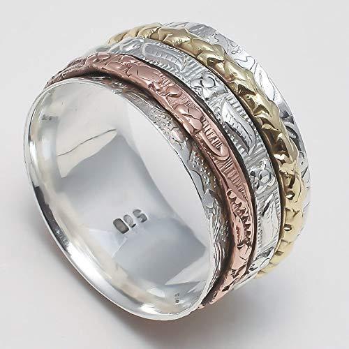 Anillos de plata de banda ancha para mujer,Spinner Ring for Womens ...