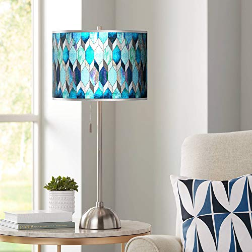 Blue Tiffany-Style Silver Metallic Brushed Nickel Table Lamp - Giclee Gallery