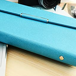 izBuy Tri-fold Bark Texture Leather Notebook Stylish Wallet Diary/Journal/Writing Notebook for Men/women with Exquisite Magnetic Buckle,164 Pages,5.6\'\'x8.1\'\',Refillable, Blue(143-25)