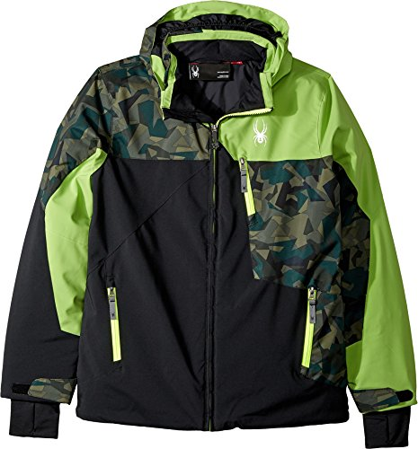 Spyder Boy's Ambush Ski Jacket, Black/Mini Guard Camo/Fresh, Size 08 Spyder Boys Jacket