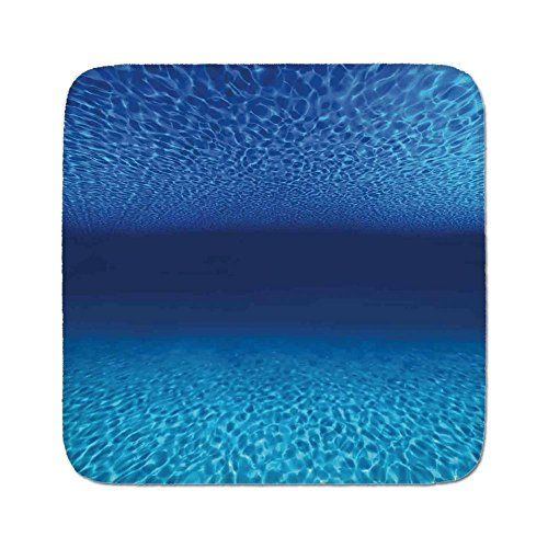 Cozy Seat Protector Pads Cushion Area Rug,Ocean Decor,Bright Sandy Bottom and Tranquil Surface Tropical Seascape Abyss Underwater,Easy to Use on Any Surface
