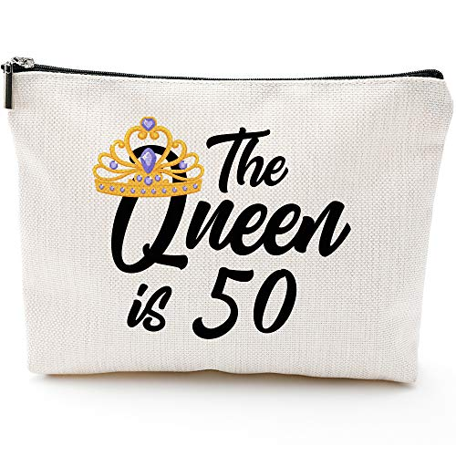 Queen is 50,50th Birthday Gifts for Women boss wife mother daughter Makeup Bag, Milestone Birthday Gift for Her, Presents for Turning Fifty and Fabulous