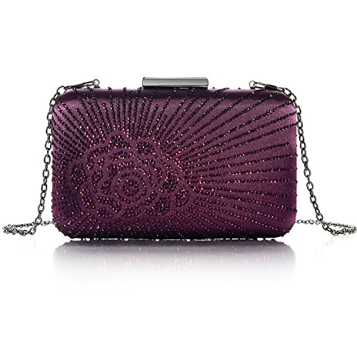 DMIX Evening Womens Satin Clutch Bags Box Purple Case Crystal Hard Silk RqSx7wR