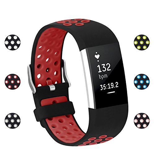 POY For Fitbit Charge 2 Bands, Adjustable Breathable Replacement Sport Bands with Air Holes for Fitbit Charge 2, Small Red - Breathable Air