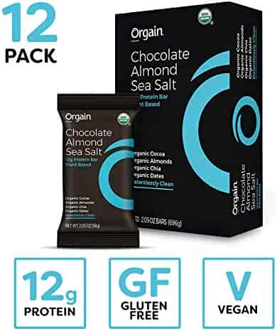 Orgain Organic Simple Protein Bars, Chocolate Almond Sea Salt - Vegan, Plant Based, 8g Dietary Fiber, Dairy Free, Gluten Free, Soy Free, Lactose Free, Kosher, Non-GMO, 2.05 Ounce, 12 Count