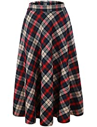 Women Flared Plaid A-Line Winter Wool Blend Midi Long Skirt