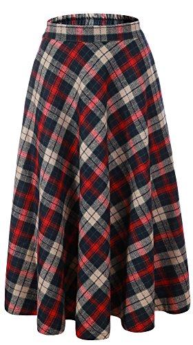 Vocni Women Flared Plaid A-Line Winter Wool Blend Midi Long Skirt,Red Blue Plaid,US XS/Tag L (Waist 28