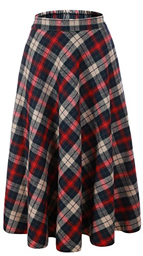 Suit Skirt Red Wool (Vocni Women Flared Plaid A-Line Winter Wool Blend Midi Long Skirt,Red Blue Plaid,US M/Tag 2XL (Waist 32.6