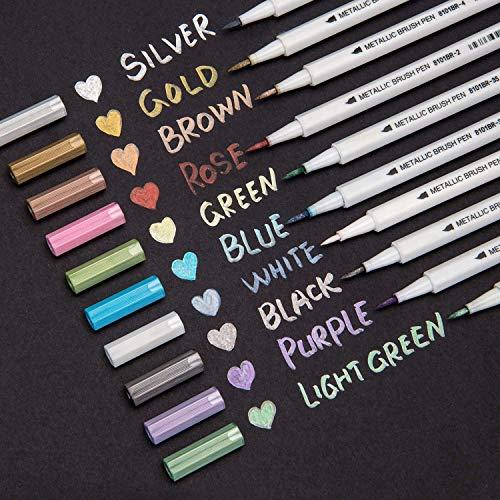 Bianyo Metallic Brush Marker Pens, Set of 10