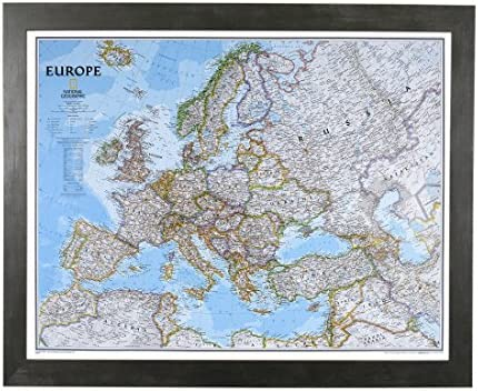Push Pin Travel Maps Classic Europe with Rustic Black Frame and Pins