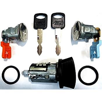 Ford Ignition Switch Lock Cylinder + Pair (2) Door Lock Cylinder W/2 Logo Keys LC6177 + DL5886