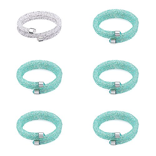Silver & Post Bridesmaids 6PCS White & Turquoise Bracelet Gift Set With Crystals from Swarovski. Gift Boxes Included - Swarovski Turquoise Bracelets