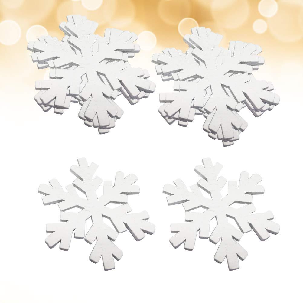 Wei/ß STOBOK 20 st/ücke Holz Weihnachtsschmuck Schneeflocke Weihnachtsbaum H/ängen Dekorationen Rustikale Ornamente f/ür DIY Handwerk Urlaub Party Ornamente