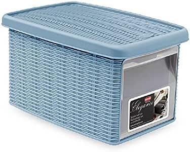 Caja de plástico multiusos con apertura frontal Elegance efecto mimbre (5,5 l, azul avio): Amazon.es: Hogar