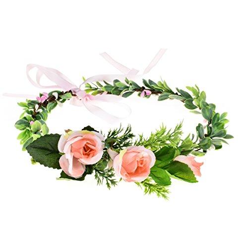 Floral Fall Adjustable Bridal Flower Garland Headband Flower Crown Hair Wreath Halo F-83 (Y-Pink Flower Ribbon) -