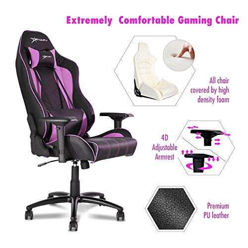 Ewin Gaming Chair Champion Series 4D Armrests Recliner Memory Foam Ergonomic High-Back PU Leather Racing Executive Computer Office Chair CPB-Pink ()