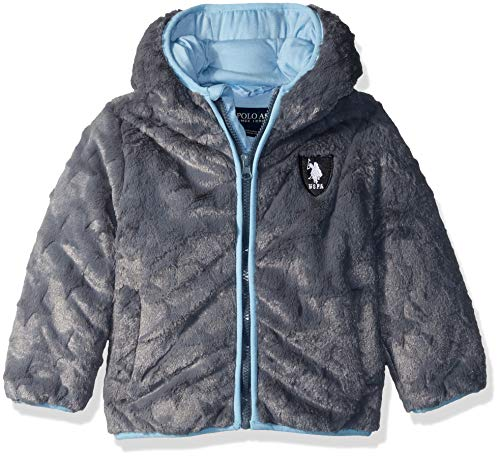US Polo Association Baby Boys Star Plush Jacket, Charcoal, 12M ()