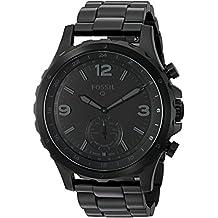 Fossil Q Men's Nate Stainless Steel Hybrid Smartwatch, Color: Black (Model: FTW1115)