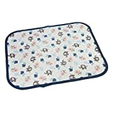 Doshop Multiuse Animal Print Cotton Waterproof Infant Diaper Changing Mat Washable Urine Mats Portable Baby Changing Pads Cover Burp Nursing Incontinence Pads (S:45*35cm, Deep Blue)