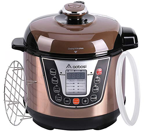 Aobosi Pressure Cooker 3Qt 8-in-1 Electric Multi-cooker, Rice Cooker,Slow Cooker,Perfect for Small Family, Free Steamer Rack,Cookbook and Extra Sealing Ring,Stainless Steel Cooking Pot by AAOBOSI