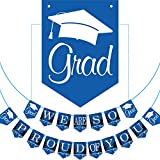 2019 Blue Graduation Banner - No DIY Required Graduation Party Supplies Decorations, Blue Grad Banner for College, High School Party (We are So Proud of You)