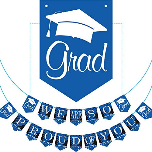 2019 Blue Graduation Banner - No DIY Required Graduation Party Supplies Decorations, Blue Grad Banner for College, High School Party (We are So Proud of You) -