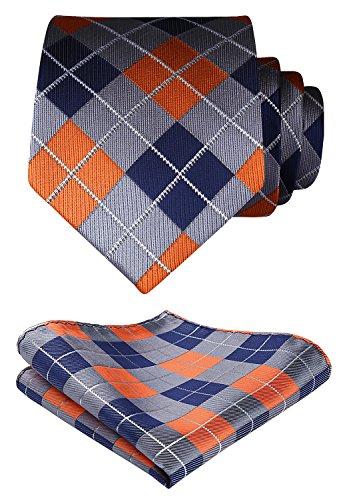 HISDERN Plaid Tie Handkerchief Woven Classic Stripe Men's Necktie & Pocket Square Set (Orange & Blue & Gray)