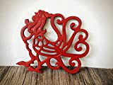 Farmhouse Table Decor / Rustic Kitchen Accessories / Red Rooster Cast Iron Trivet / Country Kitchen Gift / Large Hot Pad