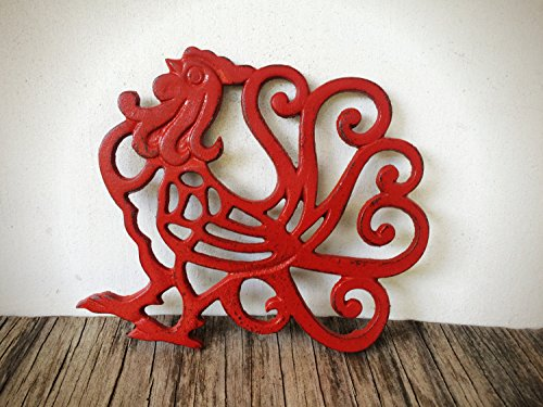 (Farmhouse Table Decor/Rustic Kitchen Accessories/Red Rooster Cast Iron Trivet/Country Kitchen Gift/Large Hot Pad)