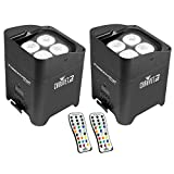 Chauvet DJ Freedom Par 4 Wireless Battery Wash Light Effect w/ Remote (2 Pack)