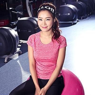 PU&PU T-shirt de yoga à manches courtes pour femmes col rond exercice de remise en forme Running Top couleur unie