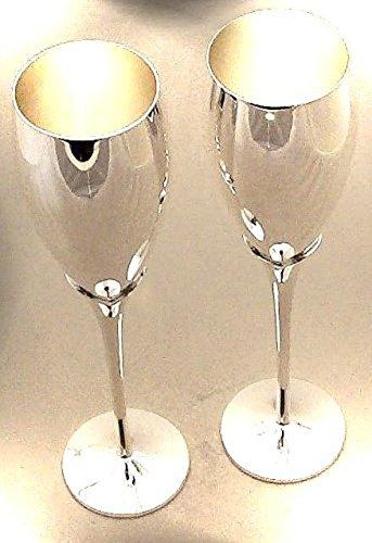 ThePresentStore marchio Knight inciso Calici da vino//champagne a stelo lungo placcati argento