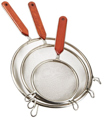 Cook Pro Stainless Steel Mesh Strainers with Wood Handles, Set of 3