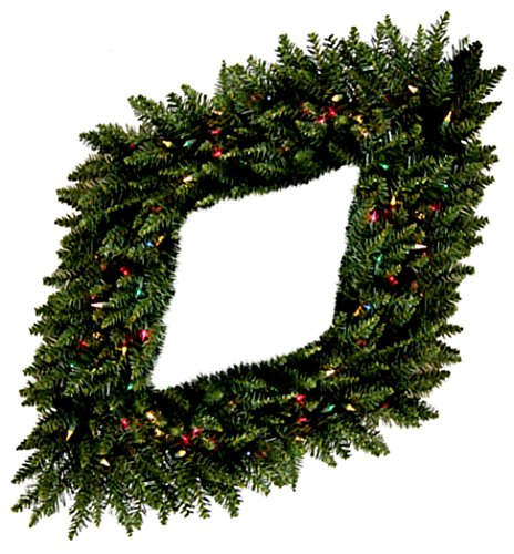 """Custom & Unique (48"""" Inches) 1 Single XL Size Decorative Holiday Wreath for Door, Made of Resin w/ Diamond Flocked Artificial Winter Christmas Festive Spruce Fir Pine Tree Branches Style (Multi-color) -"""