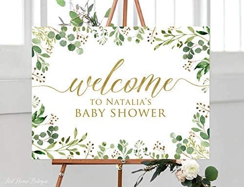 Birthday Welcome Sign greenery eucalyptus welcome sign PRINTABLE Birthday party decoration green gold welcome poster