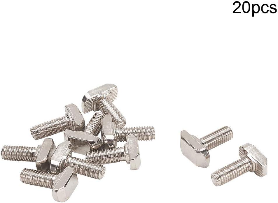MroMax 20Pcs Silver Tone M6x16mm T Slot Drop-in Stud Sliding Bolt Screw Carbon Steel European Standard